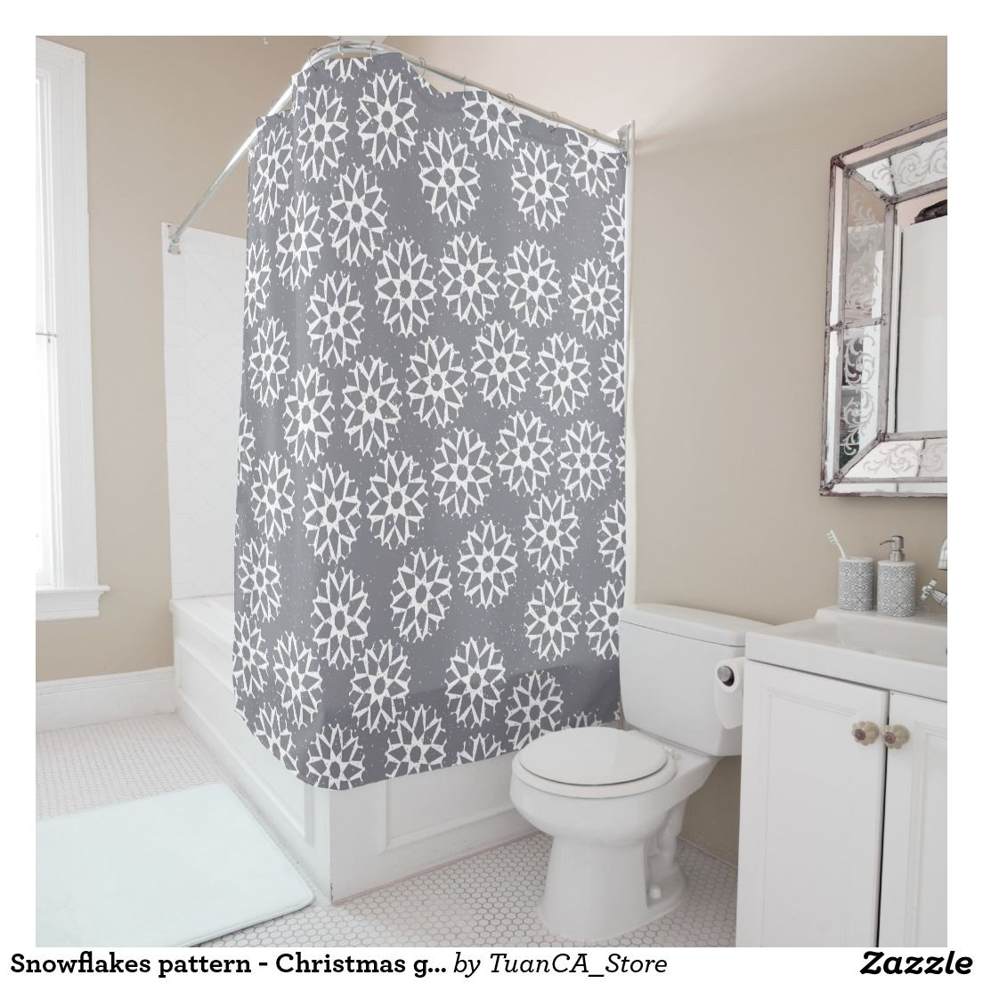 Snowflakes Pattern Christmas Gifts Shower Curtain Zazzle Com