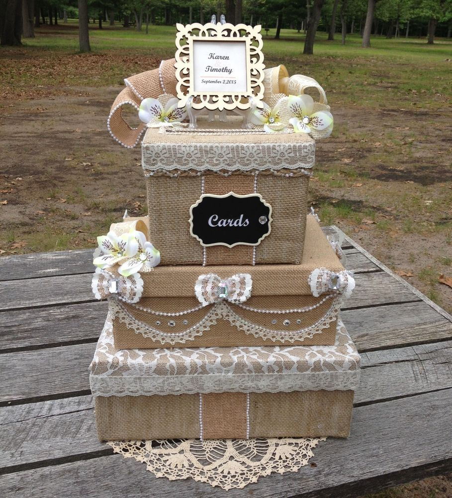 Card Box Ideas For Wedding Reception: Victorian Burlap And Lace Wedding Money Card Box Rustic
