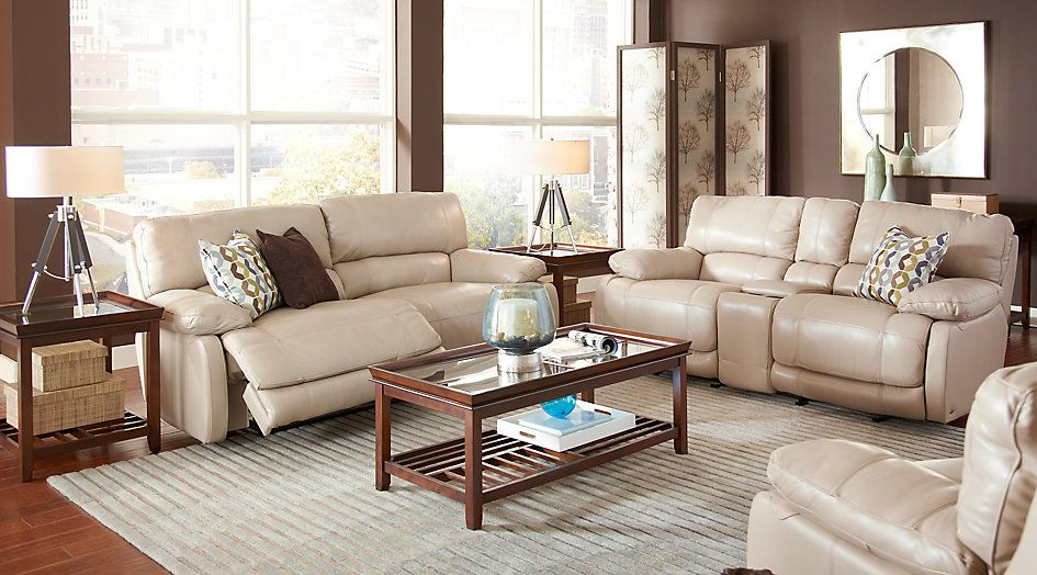 Leather Living Rooms Sets Room Gallery Cindy Crawford Home Auburn Hills Taupe 5 Pc Reclining Beige