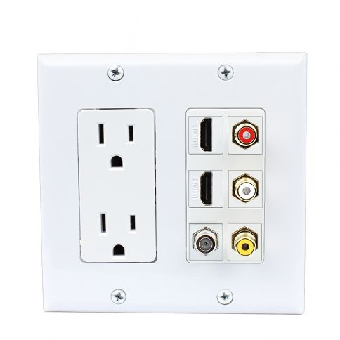 Decoration Panel 2x 15 Amp Power Outlet 3x Rca 2x Hdmi And 1x Coax Cable Tv Port Wall Plate White Plates On Wall Power Outlet Tv Shelving