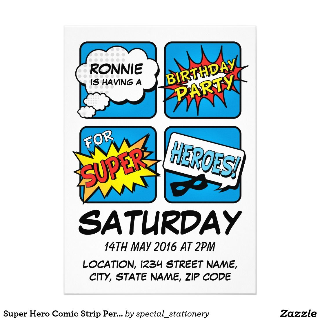 Super Hero Comic Strip Personalized Kids Birthday Invitation
