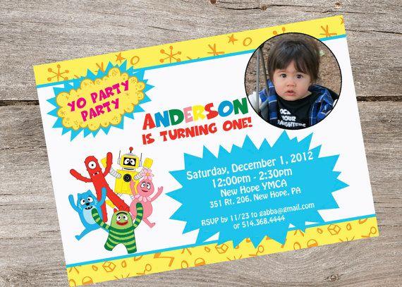 yo gabba gabba party invitation by partyflairdesigns on etsy, Birthday invitations