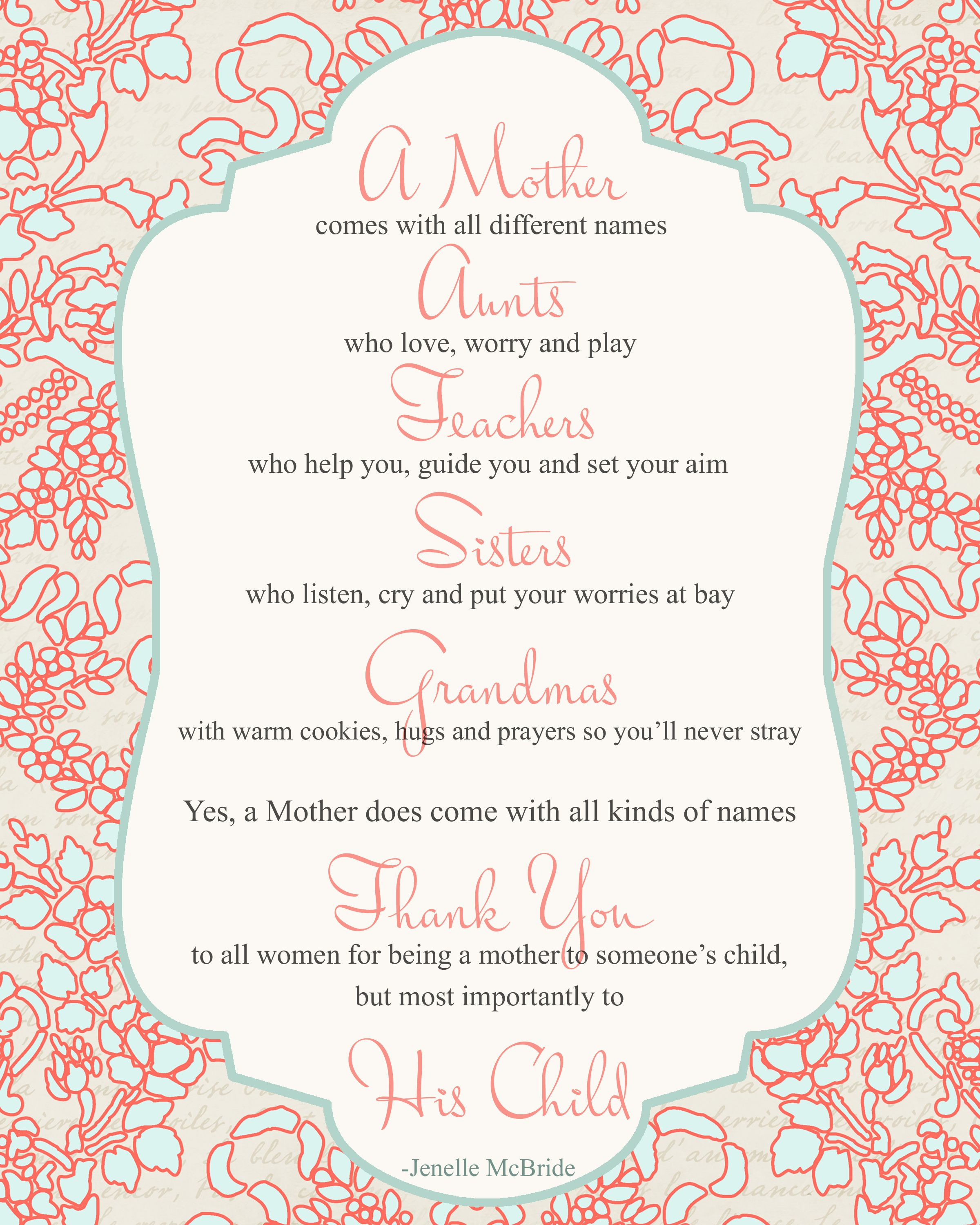 Mother's Day Poem For All Women {Printable}