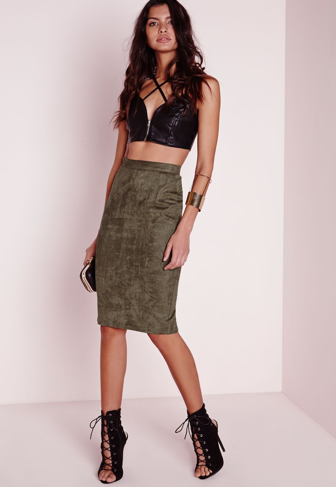 fc3123cc5d91 Missguided - Faux Suede Midi Skirt Khaki | Khaki as the season color ...