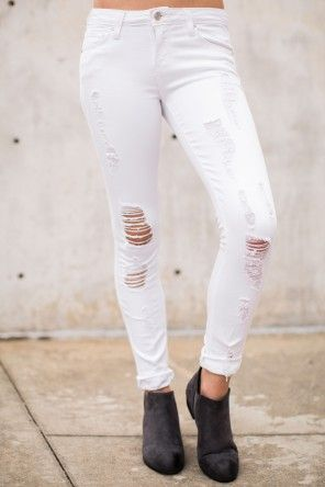 Over It White Distressed Skinny Jeans at reddressboutique.com