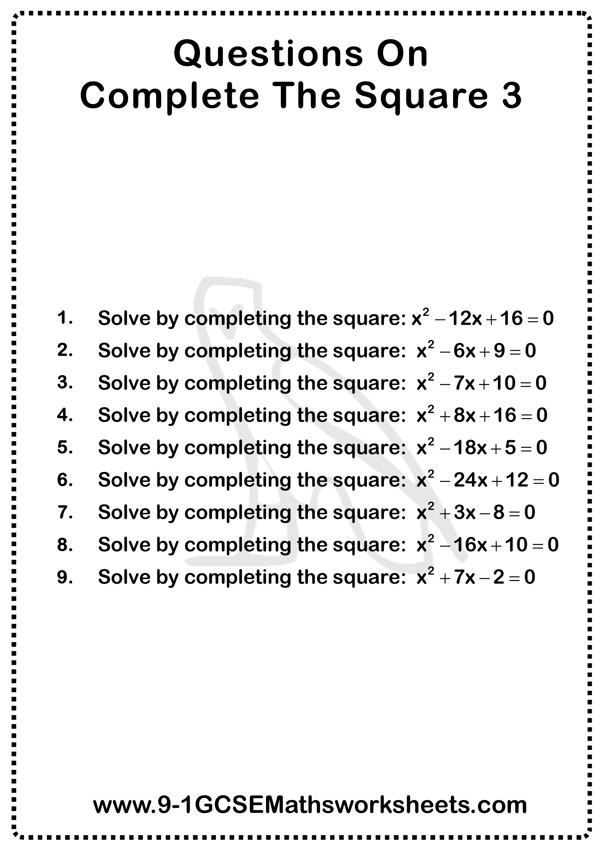 Completing The Square Questions 3 In