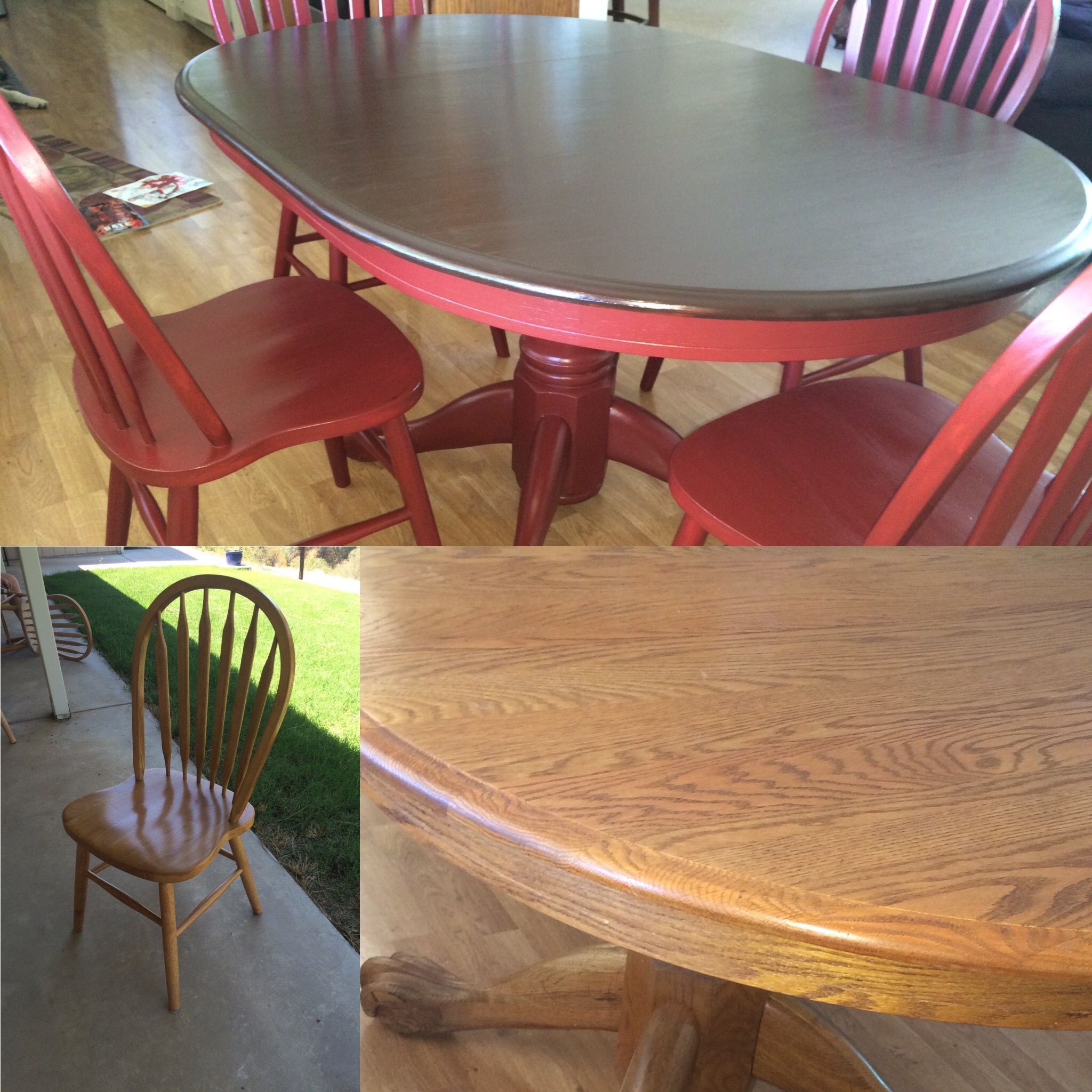 Upcycled 90s Oak Dining Set Used Gel Stain For Table Top, And Milk Paint  For The Bottom Half, And Chairs.