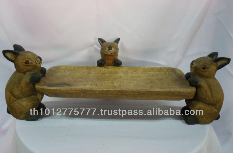 la bandeja con figuras de animales tres conejos de madera hechos a mano de tailandia la decoración de regalos y manualidades-Otros Accesorio...