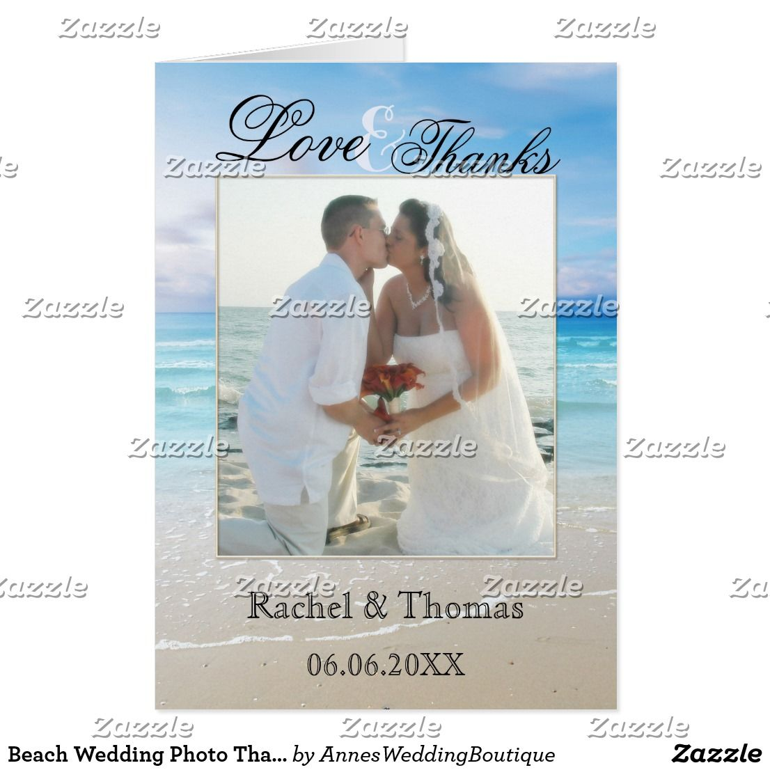 """Beach Wedding Photo Thank You Card An elegant wedding Thank You card featuring your own wedding picture framed by a colorful painting of a beach. You can also replace the image on the inside with your own wedding picture! The text fields can be customized, dragged or deleted and you can also change fonts and more. For all options, choose """"customize it""""."""