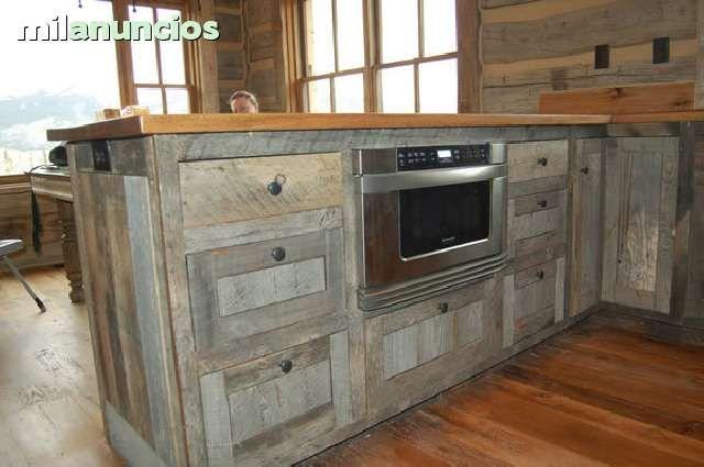 Muebles de cocina en madera reciclada increibles for Muebles de cocina pontevedra