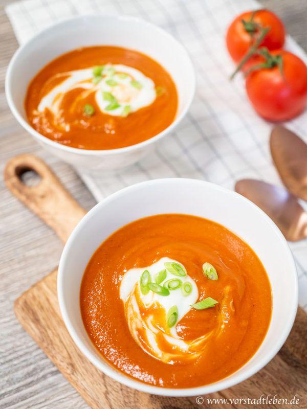 Lecker und leicht - cremige Tomaten-Linsen-Suppe mit Joghurt