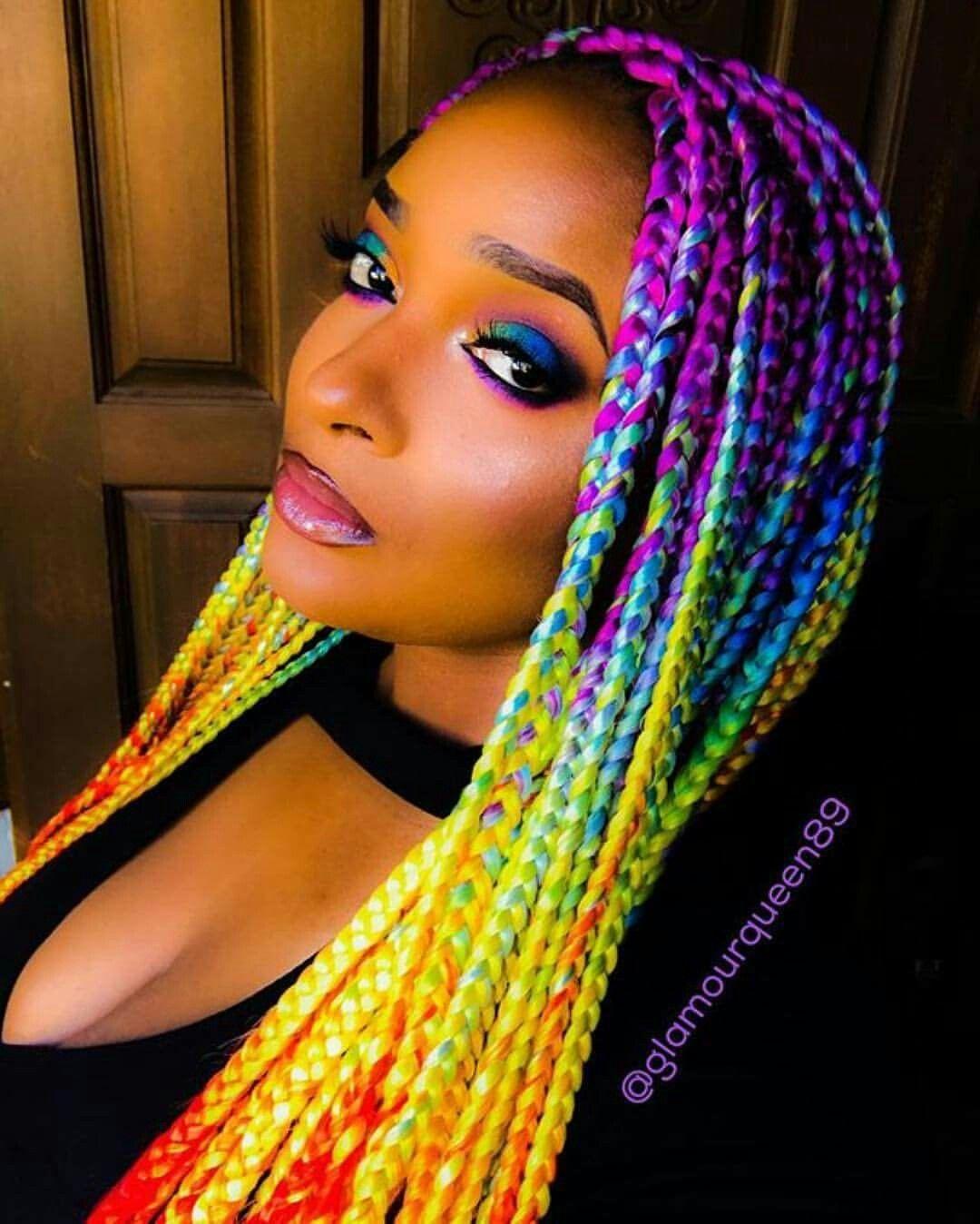 Rainbow box braids. I live!!! | Protective Styles ... Rainbow Braids