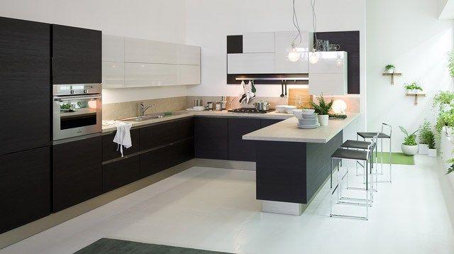 resultado de imagen de cocina blanca y negra - Cocinas Blancas Y Negras