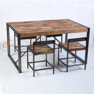 Table Repas Rectangulaire Fer Depoli Et Lattes De Bois De Bateau