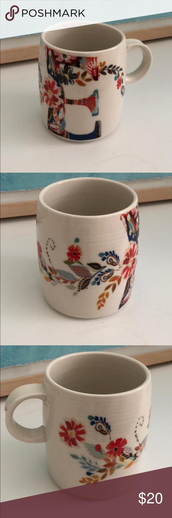 "New Anthropologie Starla Halfmann ""E"" coffee cup New"