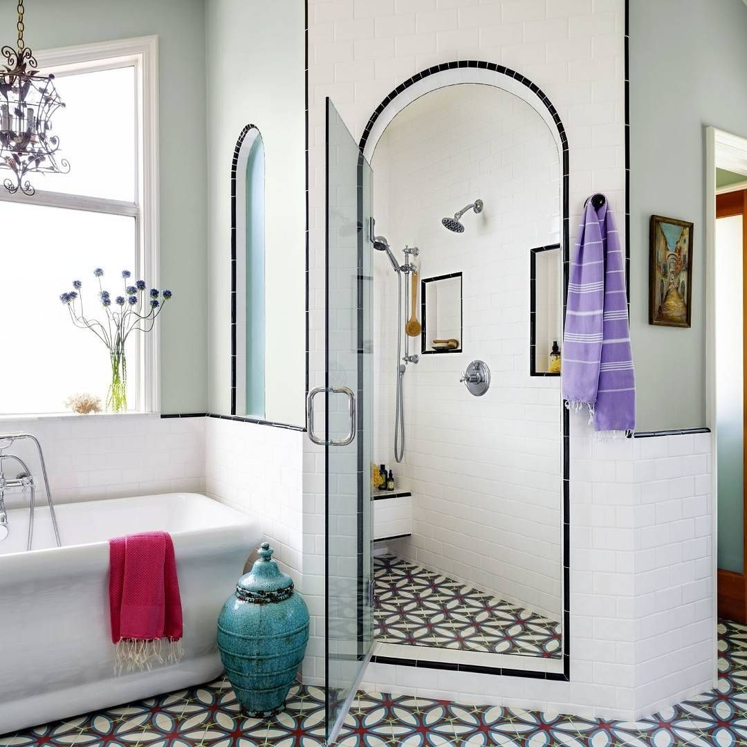 """""""The acoustics in this shower are probably out of this world.  #bathroomdecor (Photo by Trevor Tondro, design by Karen Vidal)"""""""
