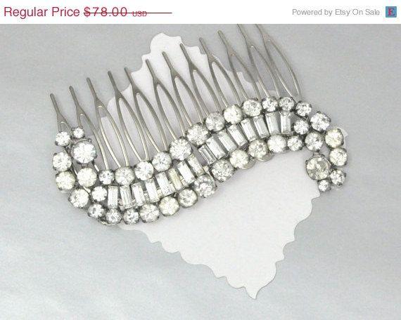 Rhinestone Vintage Comb Bridal Wedding Hair by emmjeyessvintage, $62.40