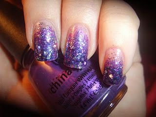 """starting off using China Glaze """"Coconut Kiss"""" then a Sinful Colors glitter """"Frenzy""""(light purple and light blue glitter).. then a dark purple and turquoise blue glitter from Nicole by O.P.I """"Gone Wishin"""" and tips are a mixed square holo glitter from Love My Nails """"All That"""""""