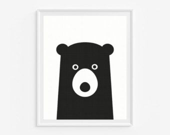 Black Bear Print Minimal Nursery Art от Norsekids