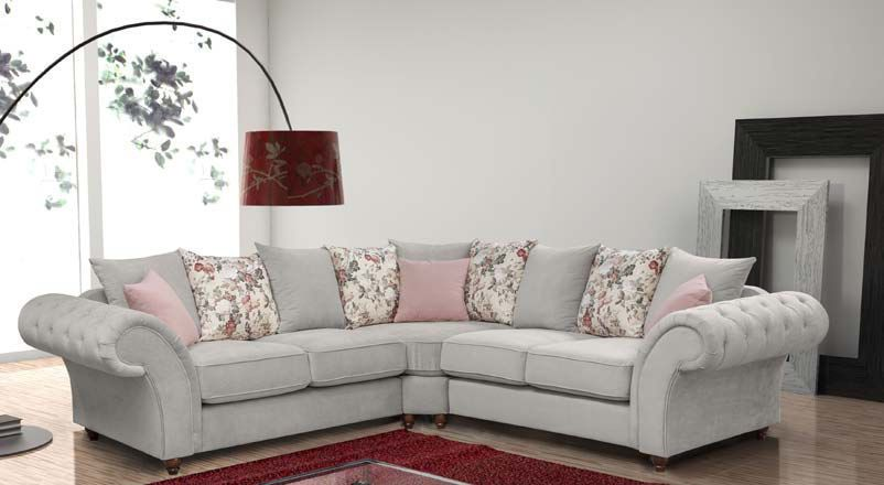 Huge Sale New Oxford Chesterfield Corner Sofa In Grey Beige Fabric