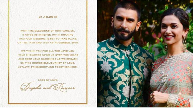 Wedding Announce Date Of Deepika Padukone And Ranveer Singh Deepika Ranveer Wedding Cards Deepika Padukone