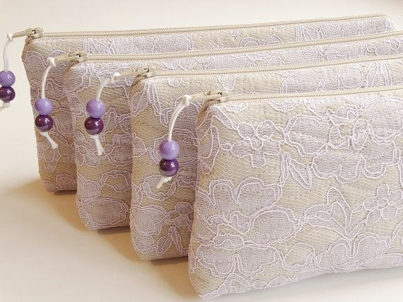 Be My Bridesmaid Gift Wedding Clutches Lilac Lace Set by PersaBags