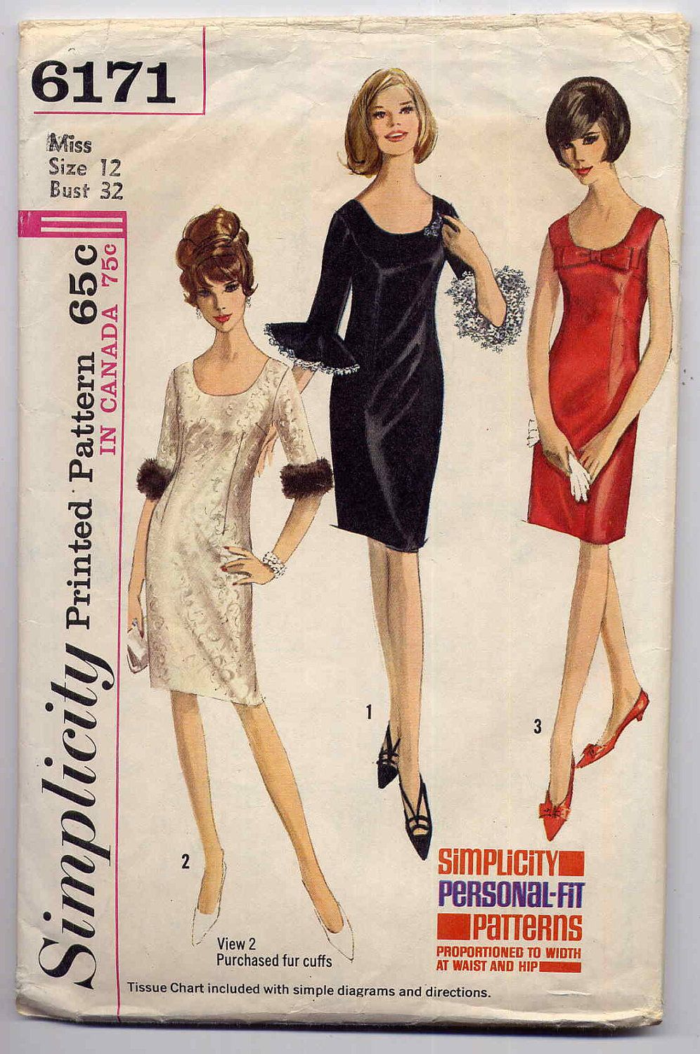 Vintage 60s Mod Slim Cocktail Dress Sewing Pattern Sleeveless or ...