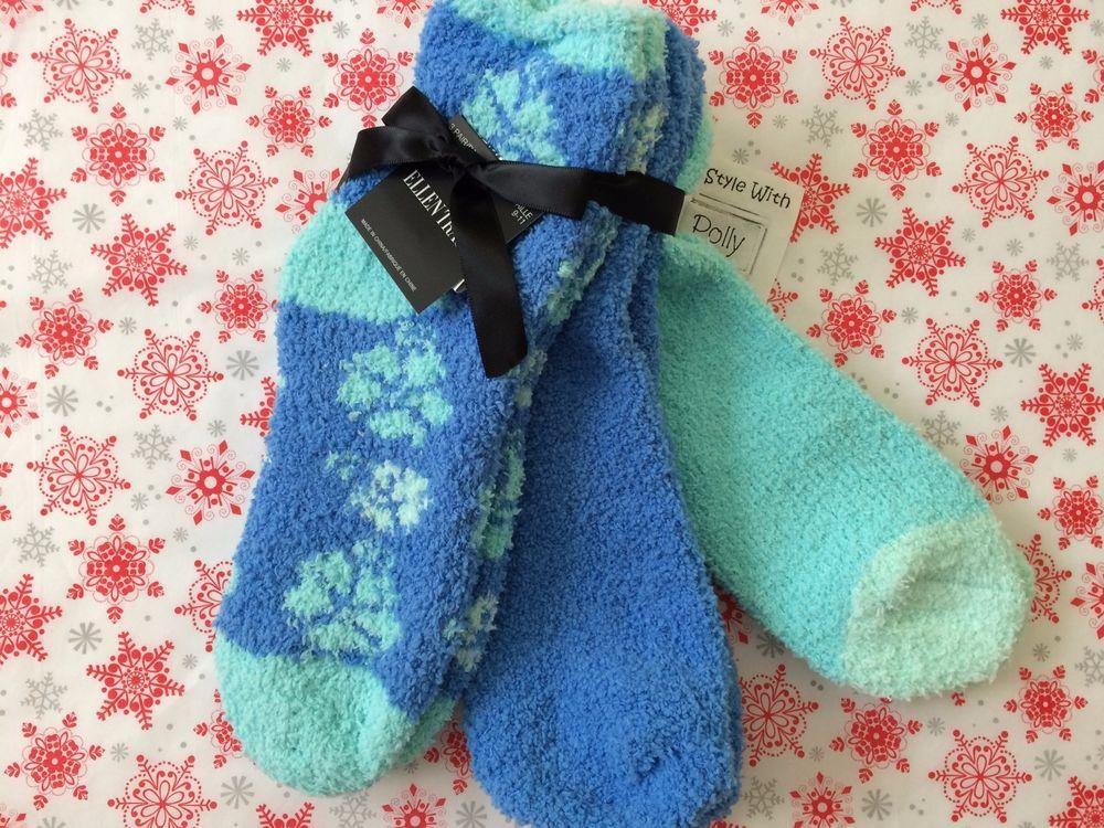 Ellen Tracy Women's 3-Pack Cozy Slipper Socks Blue Mint Multi Size ...