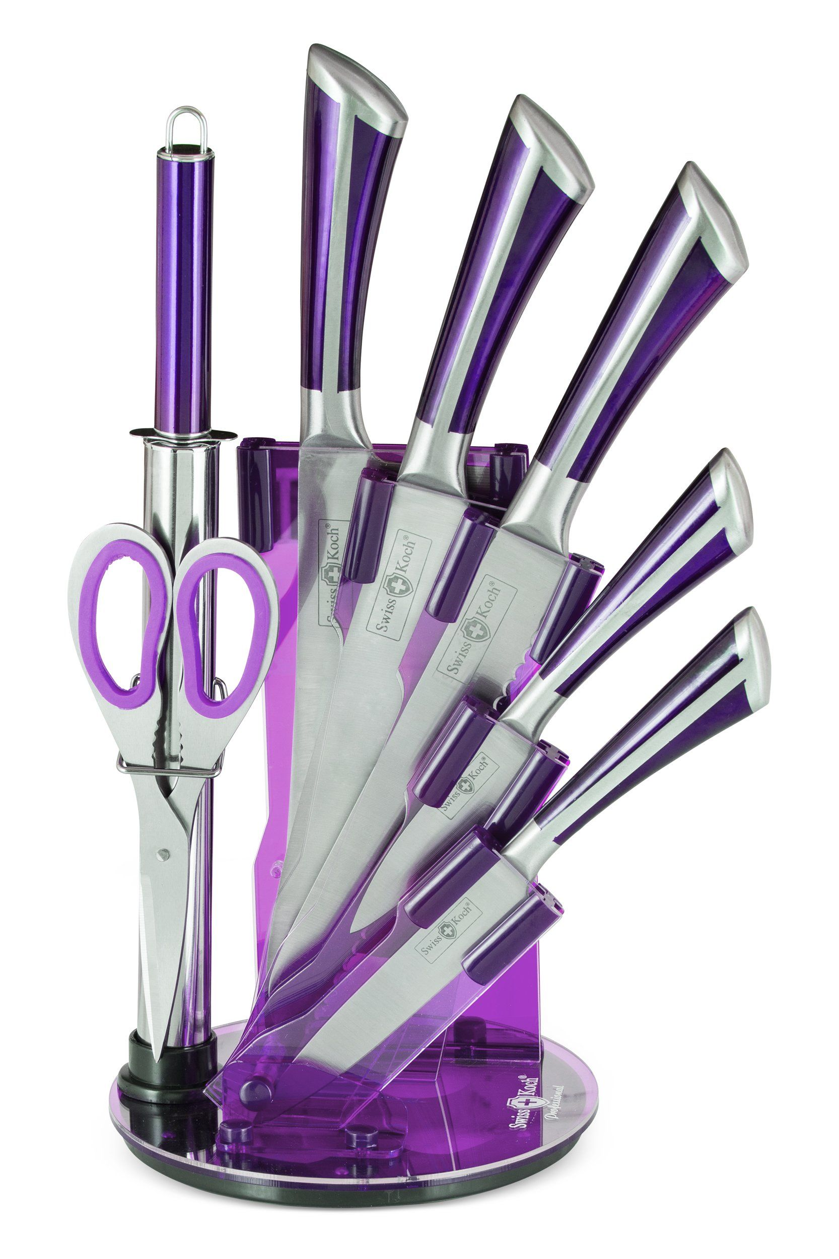 8pc Professional Swiss Design Kitchen Knife Set With Acrylic Stand X4 Colours Available Purple Co Uk Home