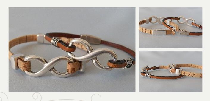 Infinity Bracelets in Portuguese Cork and Leather http://zeldasjewelry.com/