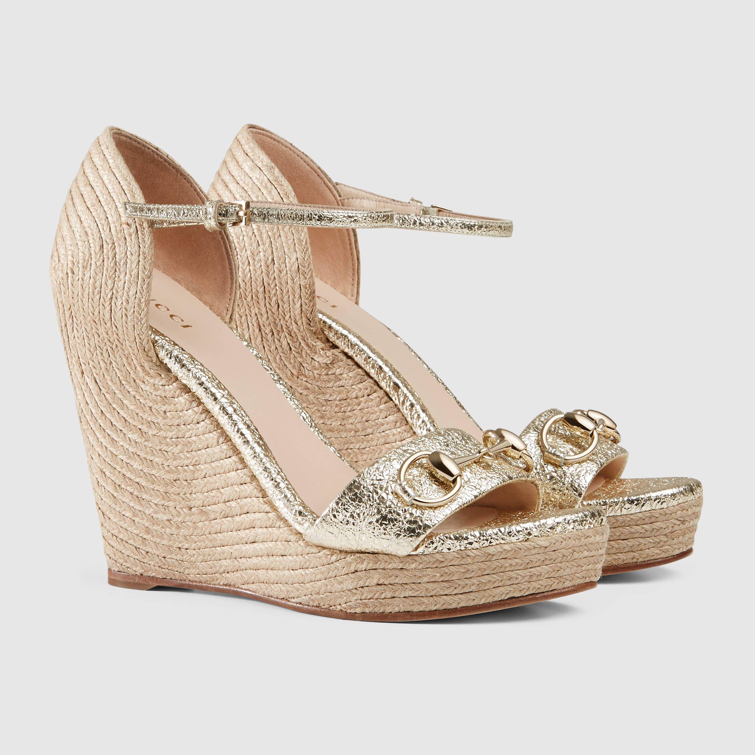 f4f02707464 Gucci Women - Gucci Metallic Laminate Leather Horsebit suede wedges -   650.00