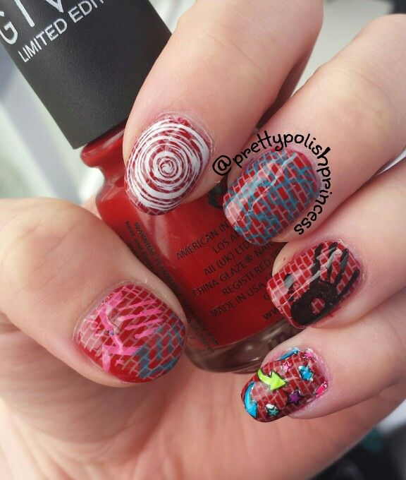 Graffiti mani done with stamps.