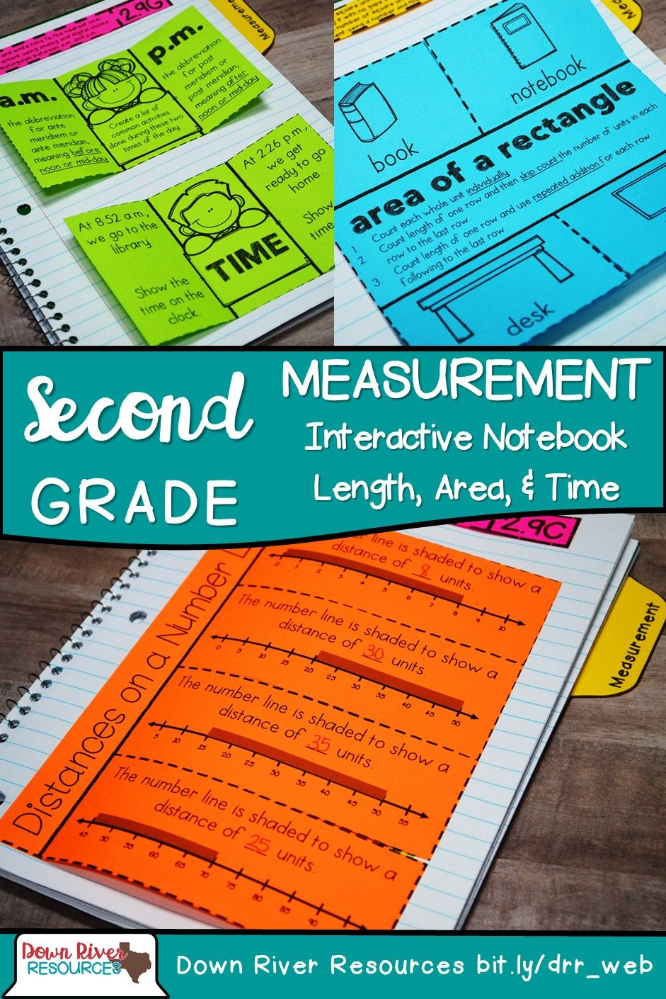 Second Grade Math Interactive Notebook: Measurement (Length, Area ...
