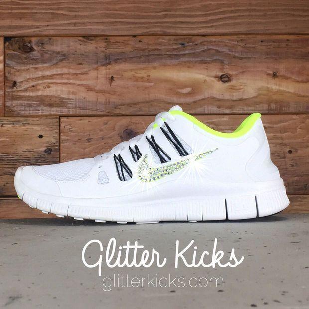 Women s Nike Free 5.0+ Running Shoes By Glitter Kicks - Hand Customized  With Swarovski Crystal Rhinestones - White Yellow Black e0e80f580865