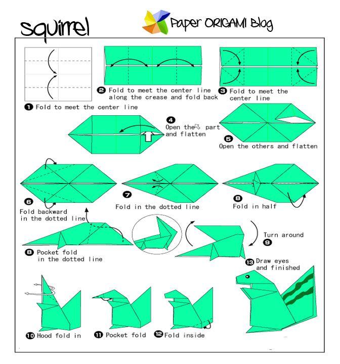 animals origami squirrel paper origami guide