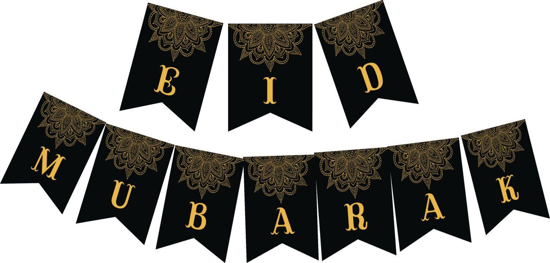 Eid Mubarak Printable In Black And Yellow Mandala Design Eid Banner Printable By Tamannadesigns On Etsy Https Www Ets Eid Banner Mandala Design Eid Mubarak