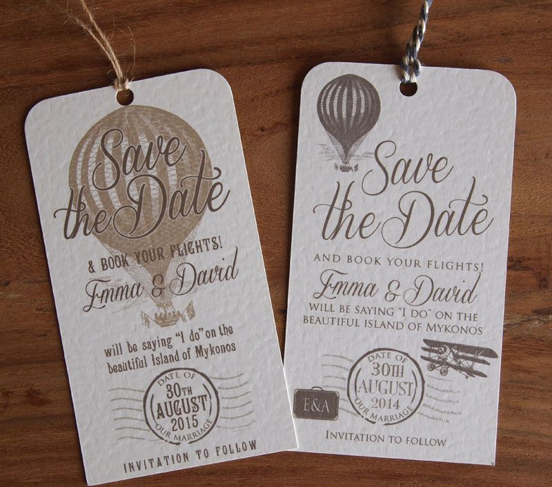 Luggage Label Save The Dates Wedding Abroad Date Our Vintage