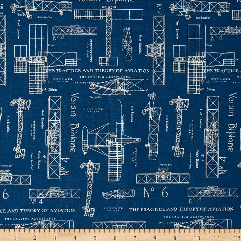 Theory of aviation blueprint blue from fabricdotcom designed by theory of aviation blueprint blue malvernweather Choice Image