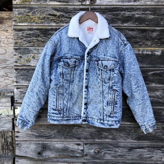 e034533f01b Vintage Levi's acid wash jacket sherpa lined grunge distressed denim jacket  80s metal thrashed ripped 1980s jean jacket vtg Levis men M L 46