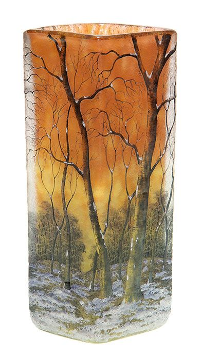 """Good Daum Nancy cameo vase revealing a panoramic view of a peaceful mature woodland after a falling of snow, the trees stark against a beautiful marmalade sky. Enamel signed """"Daum Nancy'' with the Cross of Lorraine beneath."""