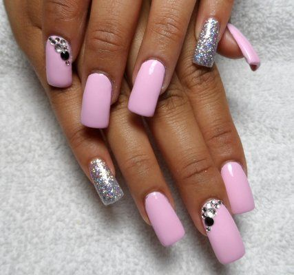 acrylic nail designs with rhinestones   glitter with