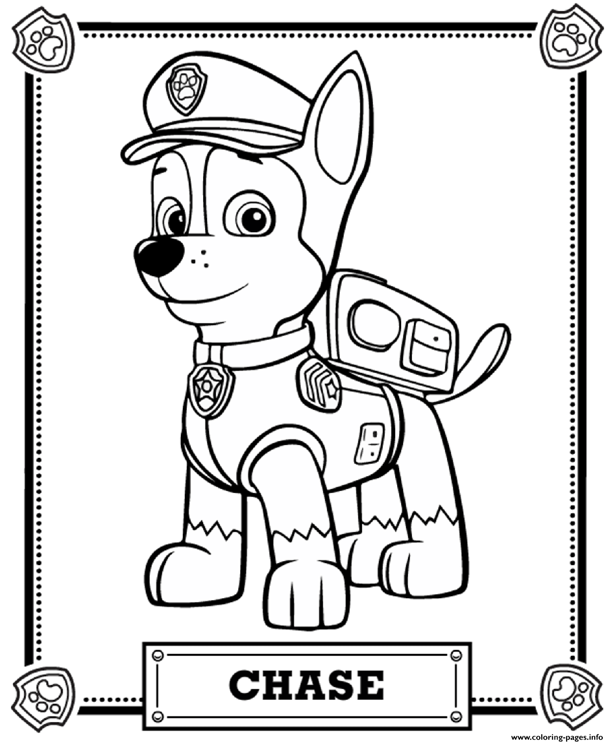 Print Paw Patrol Chase Coloring Pages Paw Patrol Coloring Pages Paw Patrol Coloring Chase Paw Patrol