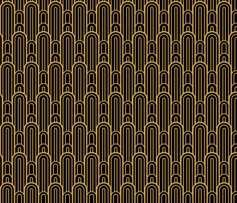 Colorful Fabrics Digitally Printed By Spoonflower Art Deco Skyscraper Scallop Black And Gold Art Deco Wallpaper Art Deco Posters Antique Art Deco