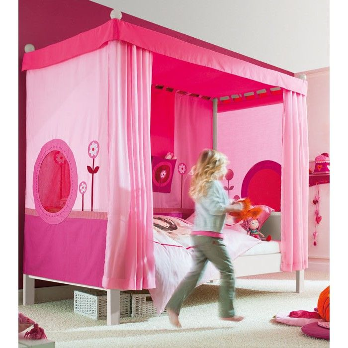 Haba Matti White Four Poster Bed With Pink Canopy,single