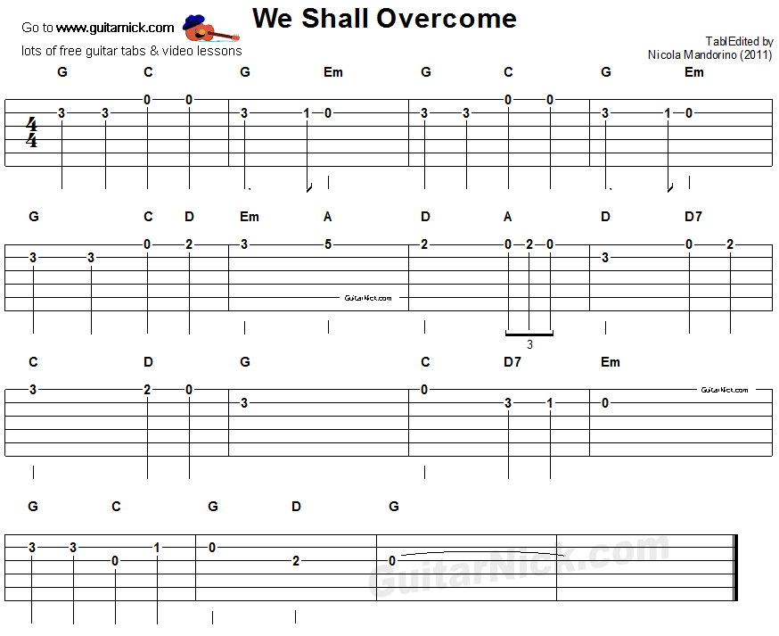We Shall Overcome Easy Guitar Tablature Guitar Tabs Pinterest