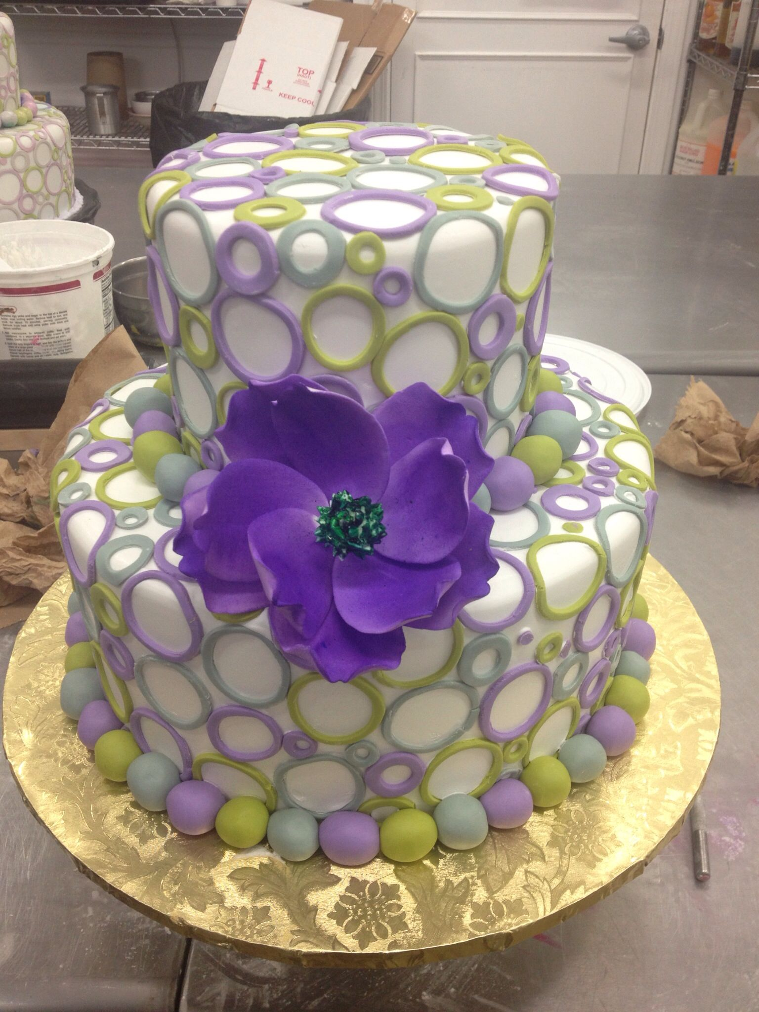 Birthday Cake With Purple Flower My Sweet Designs At Sugar Hills