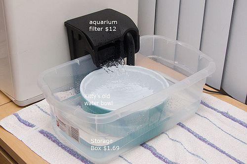 une fontaine chats fait maison dont la capacit de filtrage de l 39 eau peut meilleure que celles. Black Bedroom Furniture Sets. Home Design Ideas