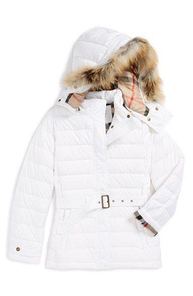 Burberry 'Cornsdale' Hooded Genuine Golden Fox Fur Trim Down Jacket (Little Girls & Big Girls) available at #Nordstrom
