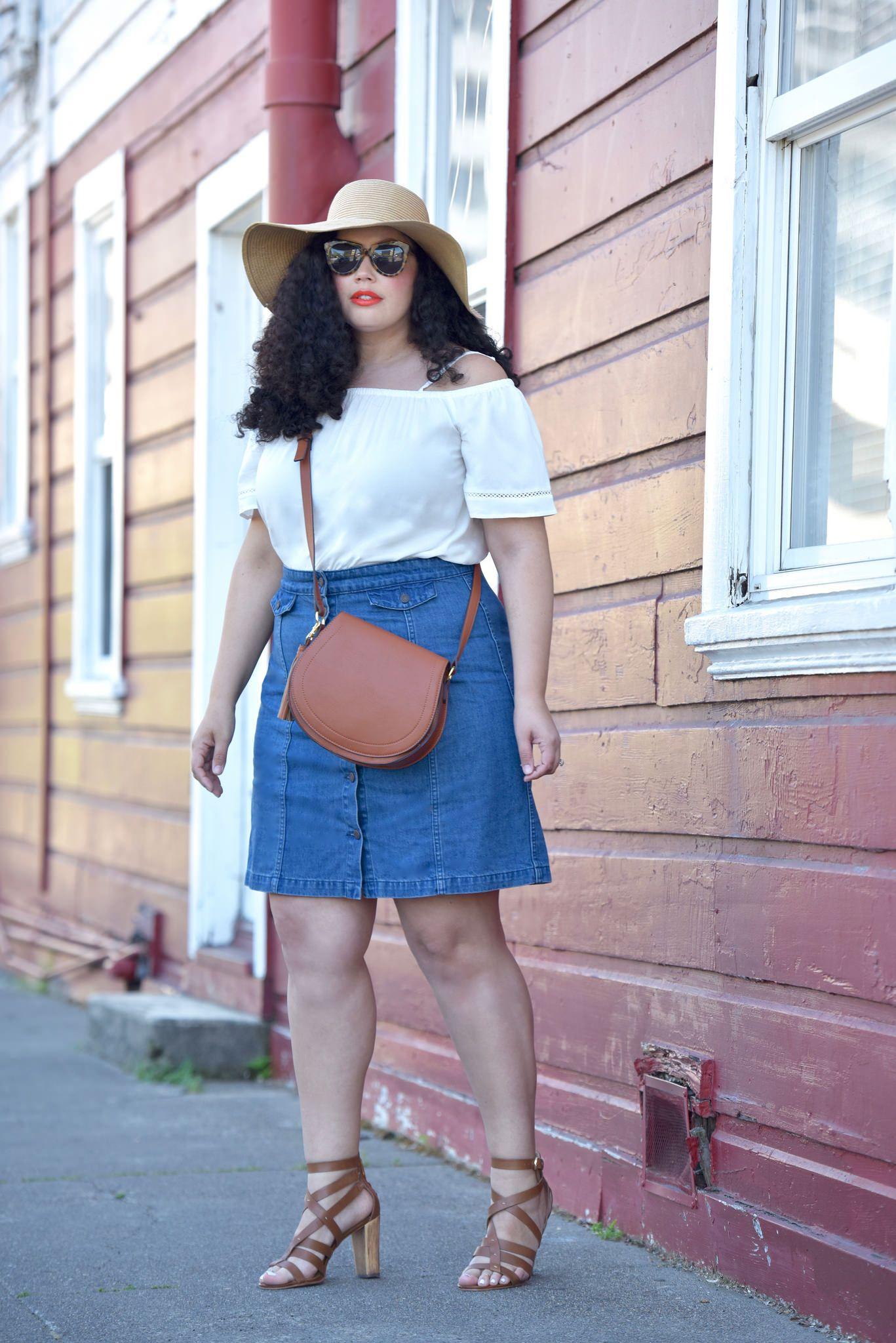 2a9445fe33fa9 Off Shoulder Top + Denim Skirt
