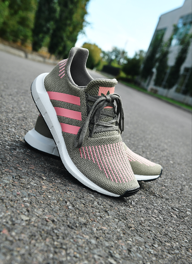 adidas Swift Run Trace Cargo & Pink Shoes | Zumiez